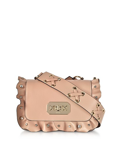 Nude Leather Small Ruffle Shoulder Bag - RED Valentino