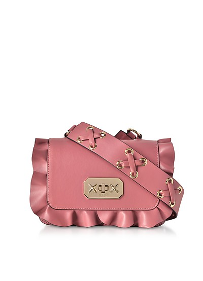 Pink Leather Ruffle Small Shoulder Bag - RED Valentino