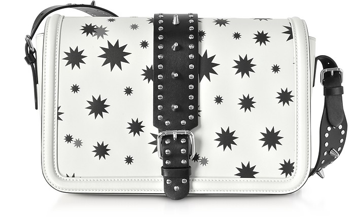 Black and White Star Printed Shoulder Bag - RED Valentino
