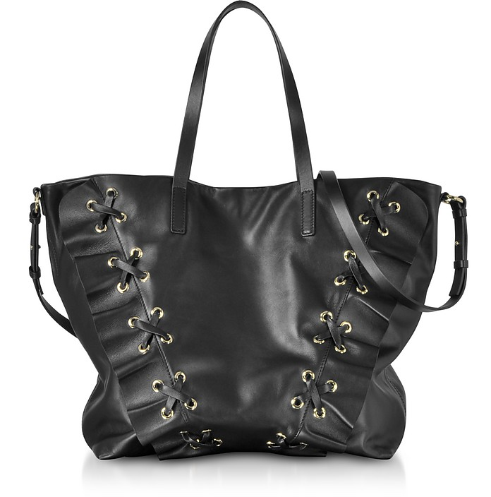 Black Leather Ruffle Tote Bag - RED Valentino