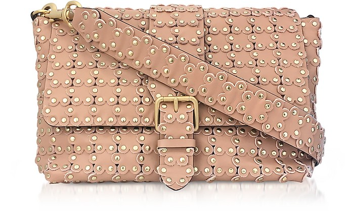Flower Puzzle Nude Leather Shoulder Bag - RED Valentino