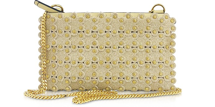 Flower Puzzle Gold Leather Shoulder Bag - RED Valentino