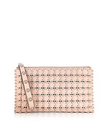 Flower Puzzle Leather Clutch - RED Valentino