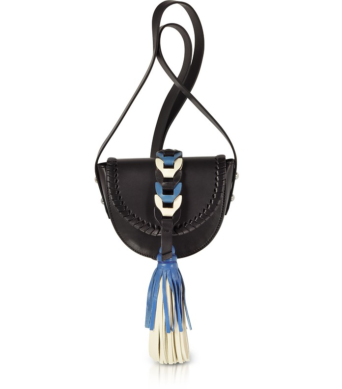 Black, Ivory, Agate Blue Leather Crossbody Bag w/Oversized Tassel - RED Valentino