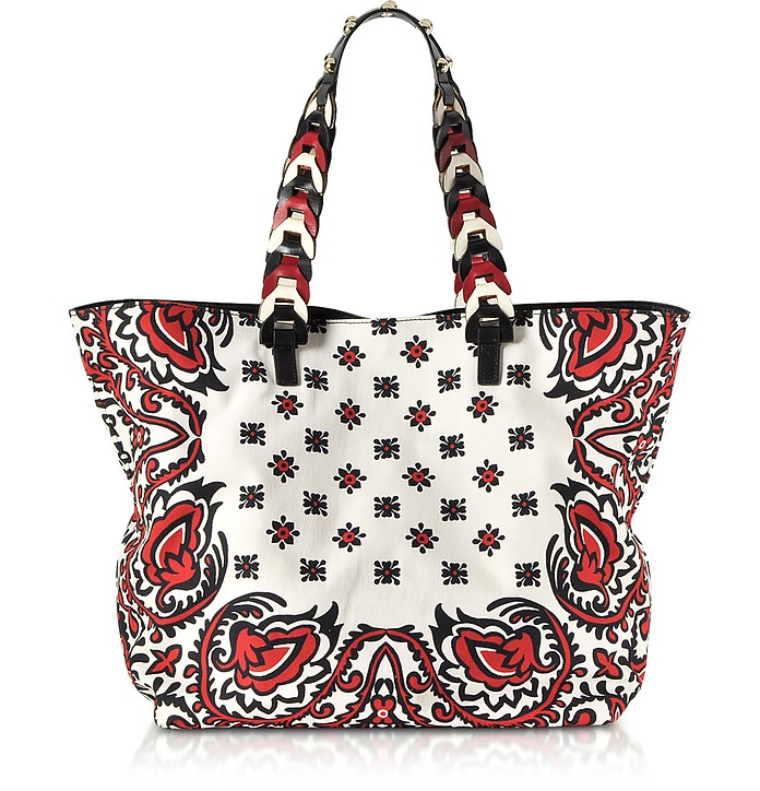 Bandana Printed Canvas Tote Bag - RED Valentino