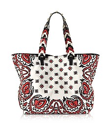 Cherry, Ivory and Black Floral Baroque Printed Canvas Tote Bag - RED Valentino