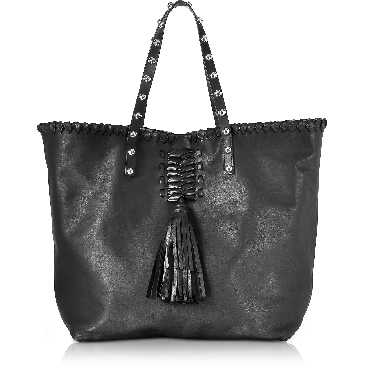 Black Leather Tote Bag w/Fringe Tassel