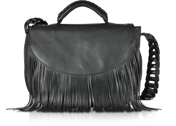 Black Fringed Leather Shoulder Bag - RED Valentino