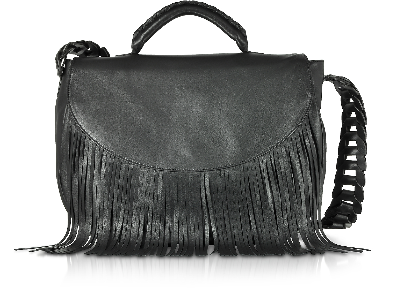 Black Fringed Leather Shoulder Bag