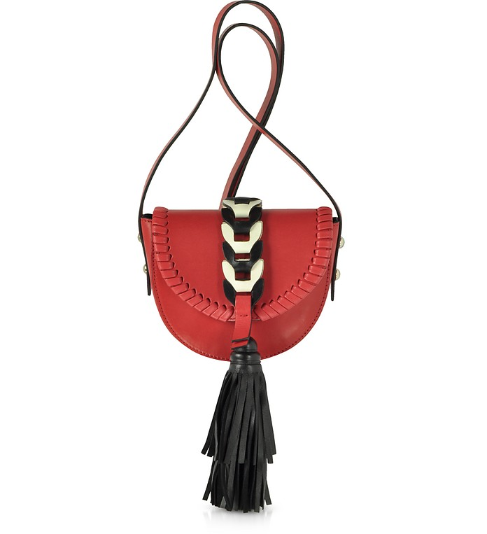 Fire Red, Ivory and Black Tassel Shoulder Bag - RED Valentino