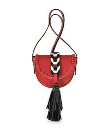 Fire Red, Ivory and Black Tassel Shoulder Bag - RED Valentino