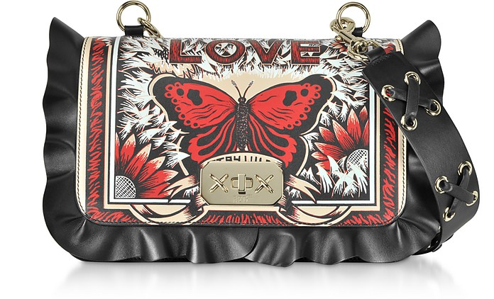 Butterfly Print Black Ruffles Leather Shoulder Bag - RED Valentino / レッド ヴァレンティノ