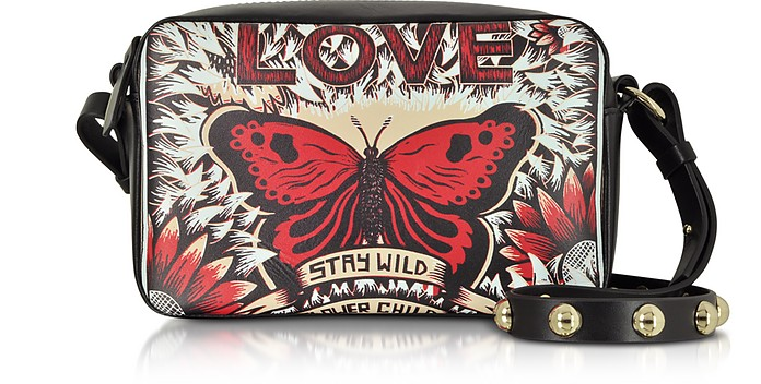 Butterfly Print Leather Crossbody Bag - RED Valentino