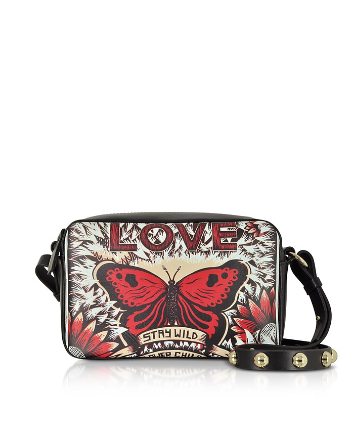Crossbody Bag in Pelle Stampa Butterfly  - RED V