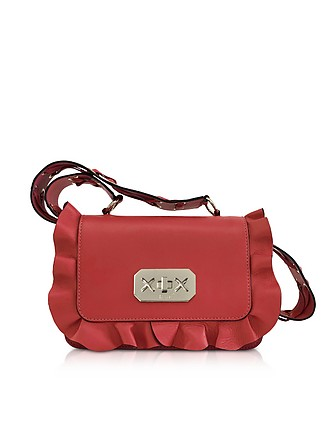ba5da46d8e Flame Red Leather Ruffle Small Shoulder Bag - RED Valentino