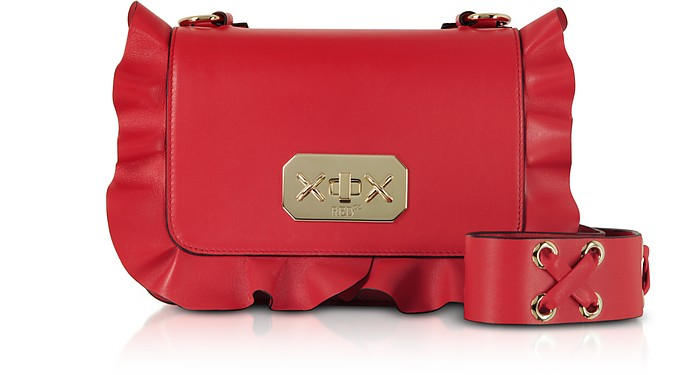 Flame Red Leather Ruffle Small Shoulder Bag - RED Valentino / レッド ヴァレンティノ