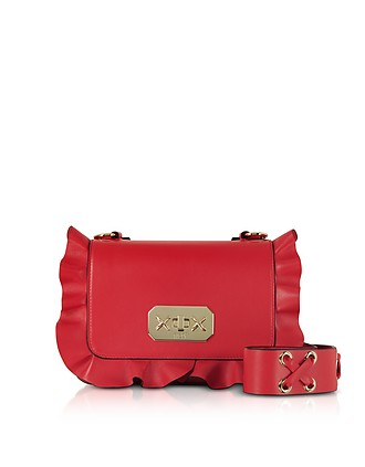 Flame Red Leather Ruffle Small Shoulder Bag - RED Valentino c60c485d98f3a