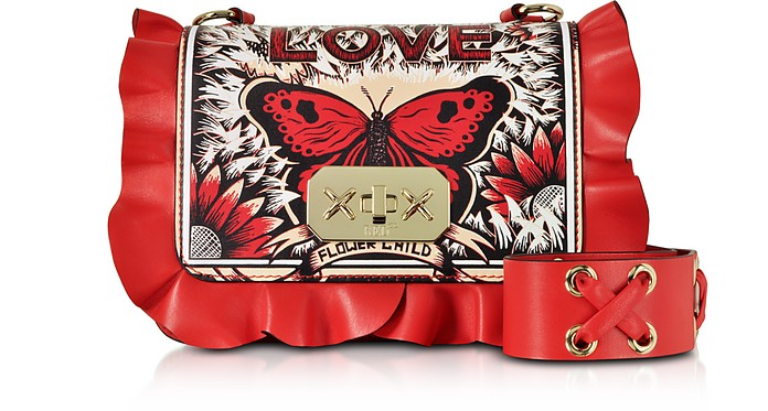Borsa Rock Ruffles Small in Pelle Rosso Fiamma Stampa Butterfly  - RED V