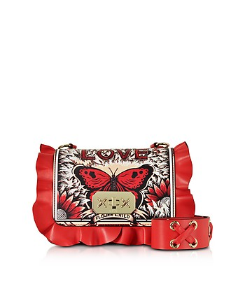 Butterfly Red Leather Small Ruffle Shoulder Bag - RED Valentino 7f631c3effd11