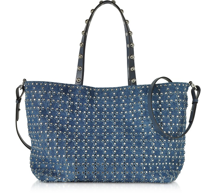 Flower Puzzle Denim Tote Bag - RED Valentino