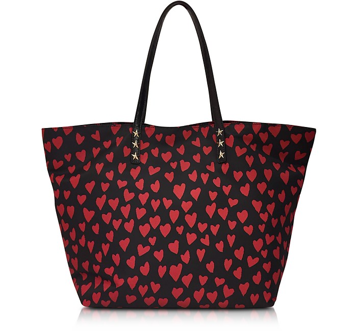 RED Valentino Red and Black Heart Print Nylon Tote at FORZIERI 9726f6bd395