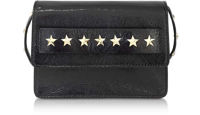 Golden Stars Black Leather Shoulder Bag - RED Valentino