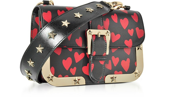bandolera Bolso valentino corazon de estampado cuero rojo Zqdgqwf