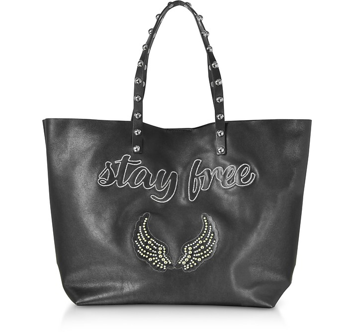 Stay Free Black Leather Tote - RED Valentino