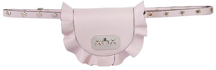 Pale Pink Leather Rock Ruffles Belt Bag - RED Valentino