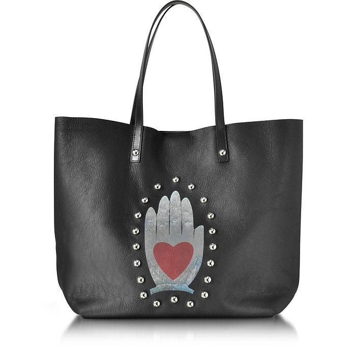 Black Leather Tote Bag  - RED Valentino