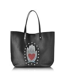 Cabas en Cuir Noir avec Imprimé Main Coeur et Clous - RED Valentino