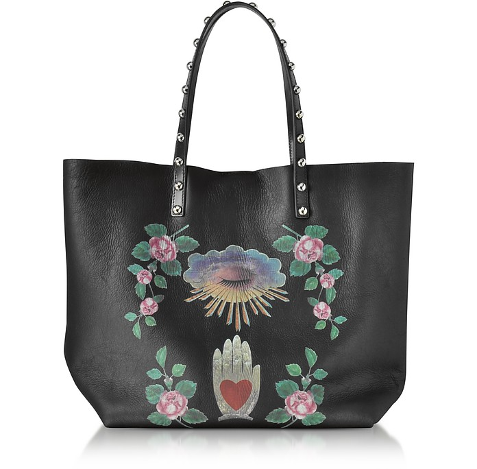 Black Leather Studded Tote Bag  - RED Valentino
