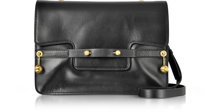 Black Leather Shoulder Bag w/Goldtone Piercing - RED Valentino