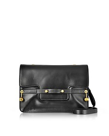 Black Leather Shoulder Bag w/Goldtone Piercing - RED Valentino