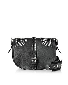 Black Grained Leather Shoulder Bag w/Studs - RED Valentino