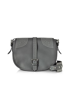 Anthracite Grained Leather Shoulder Bag w/Studs - RED Valentino