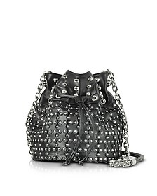 Black Leather Flower Puzzle Bucket Bag - RED Valentino