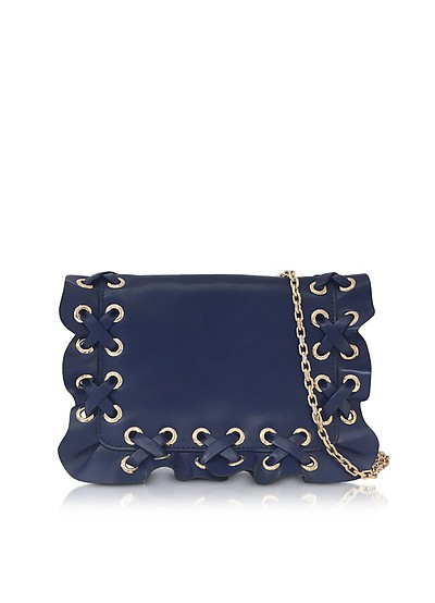 Prussian Blue Rock Ruffle Leather Pouch - RED Valentino