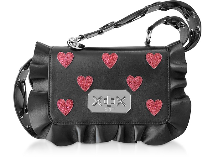 Red Heart Printed Leather Rock Ruffle Bag - RED Valentino