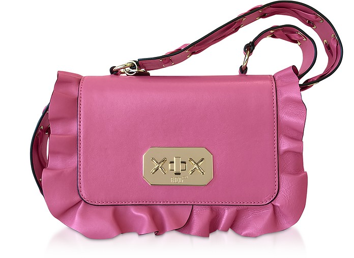 Rock Ruffle Borsa Crossbody in Pelle Rosa Sunrise - RED V