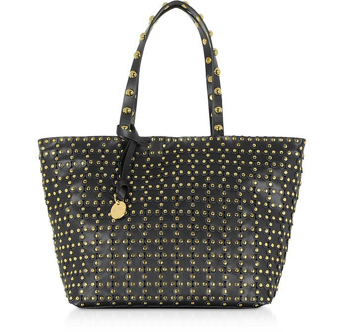 Flower Puzzle Black Leather Tote Bag - RED Valentino