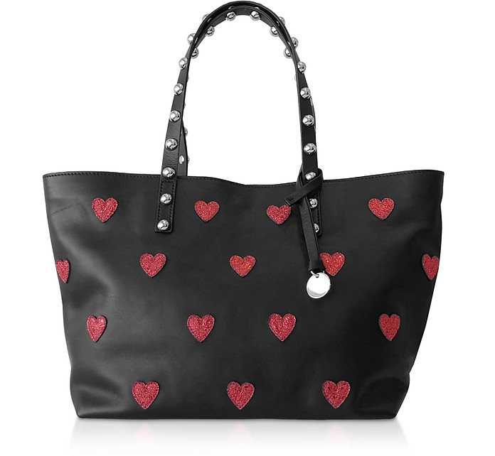 Red Heart Printed Leather Tote Bag - RED Valentino