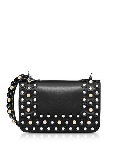 Flower Puzzle Black Leather Shoulder Bag - RED Valentino