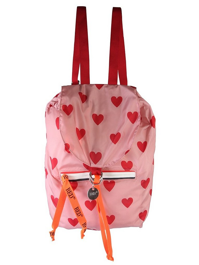 HEART PRINT BACKPACK - RED V