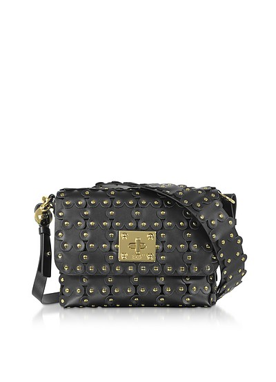Black Flower Puzzle Twist Lock Shoulder Bag - RED Valentino
