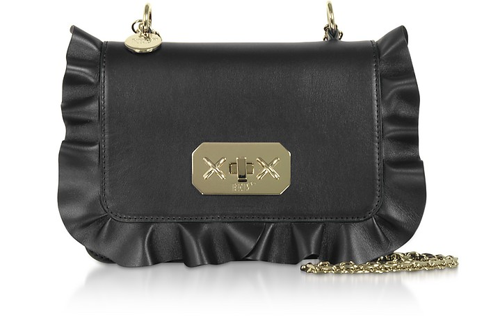 Rock Ruffles Shoulder Bag w/ Gold Chain Strap - RED Valentino