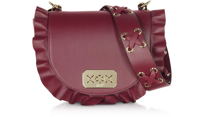 Rock Ruffle Rounded Borsa a Spalla in Pelle - RED V
