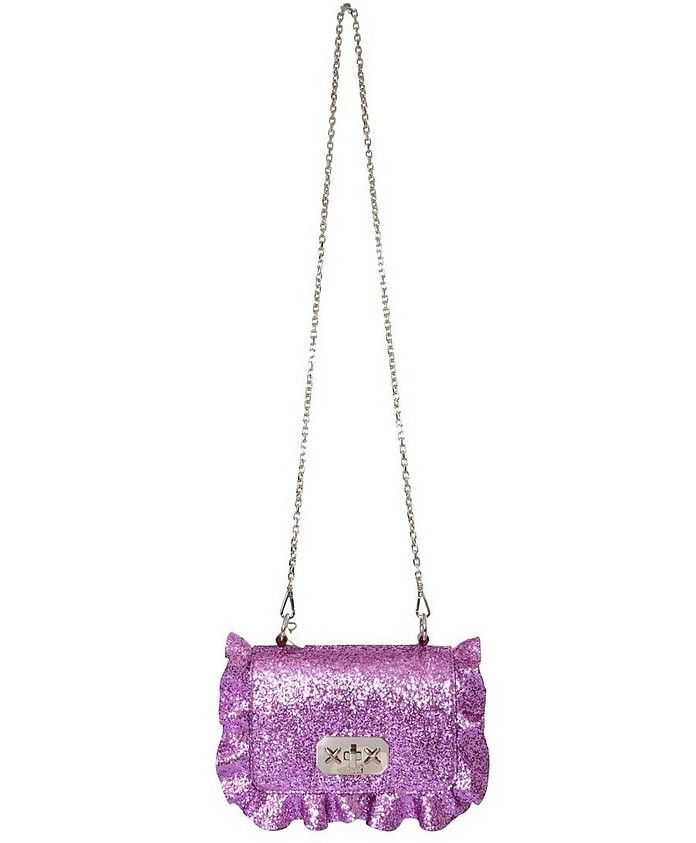 Pink Glitter Rock Ruffles Crossbody Bag  - RED VALENTINO