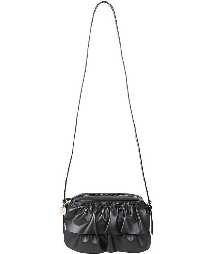 Black leather Rock Ruffles Shoulder Bag - RED Valentino