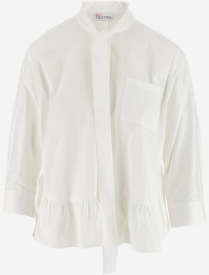 White Stretch Cotton poplin Women's Casual Shirt - RED Valentino